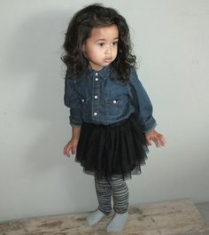 #kids #baby #fashion #outfits and #style #girl's clothing print and pattern inspiration #tutuskirt #denimshirt