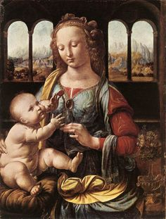 Leonardo da Vinci Madonna of the Carnation, , Alte Pinakothek Museum in Munich. Read more about the symbolism and interpretation of Madonna of the Carnation by Leonardo da Vinci. Renaissance Kunst, High Renaissance, Renaissance Paintings, Michelangelo, Mona Lisa, La Madone, Madonna And Child, Oil Painting Reproductions, Italian Artist
