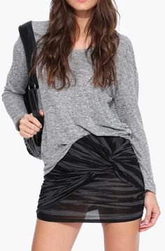 Ollie Knot Mini Skirt in Charcoal       THATS RIGHT LADIES, MINIS ARE BACK,  BETTER GET THOSE LEGS IN SHAPE...........ADORABLE.....