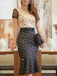 Colorblock Polka Dot Pep Hem Bodycon Dress dresses to wear to a wedding dresses short dress outfit dress dress dresses modest dresses Skirt Outfits, Casual Outfits, Women's Casual, Casual Dresses, Polyvore Outfits, Pattern Fashion, African Fashion, Fashion Dresses, Bodycon Dress