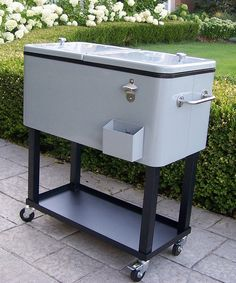 This Gray Wheeled Patio Cooler Cart By Oakland Living Is Perfect!