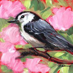 Nuthatch Bird Painting Original Oil on 6x6 Panel | GildedOwlJewelry - Painting on ArtFire