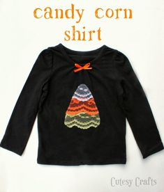 Candy Corn Halloween Shirt made with lace!