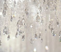 White with crystal raindrops