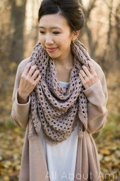 Crochet this beautiful triangle scarf using a luxurious acrylic yarn called Heartland! Shell stitches are worked with a beautiful picot edging! Bohemian Crochet Patterns, Crochet Wrap Pattern, Love Crochet, Knit Crochet, Crochet Ideas, Crochet Triangle Scarf, Crochet Afghans, Crochet Blankets, Easy Crochet