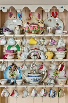 Chinaware in kitchen dresser in London home England UK Shabby Chic Kitchen, Shabby Chic Style, Vintage Kitchen, Tea Cup Display, Welsh Dresser, Kitchen Dresser, China Display, Granny Chic, Cottage Interiors