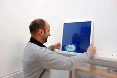 Franck Leonard with one of his recent work for the exhibition at Showroom Thierry Poubeau, starting October 24