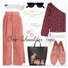 """""""One-Shoulder Tops"""" by marialibra ❤ liked on Polyvore featuring Ulla Johnson, Muveil, Mansur Gavriel, MANGO, Alexis Bittar and Ted Baker"""