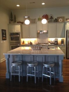 Quick ReStyle in Franklin, TN, painted cabinets, new island, lighting, new cooktop and hood-cutest hood ever?