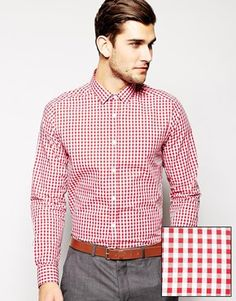 ASOS Smart Shirt In Long Sleeve With Gingham Check Size medium