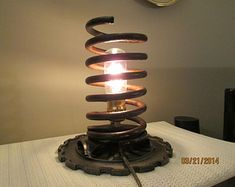 Lamp Re-Purposed From Car/Truck Spring, Farm Planter Plate, Industrial Lighting