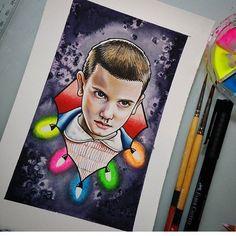 "Stranger Things. en Instagram: ""Water & prisma color paint. Credits to: @brittanykilsby. • #netflix #strangerthings #fanart #eleven"""