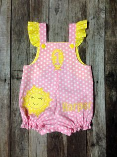 Pink Lemonade First Birthday Romper  You Are by PamiesBabyThreads