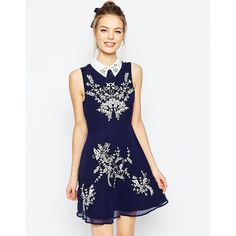ASOS Embroidered Floral Sequin Mini Skater Dress With Collar ($115) ❤ liked on Polyvore featuring dresses, navy, fit and flare dress, navy blue chiffon dress, floral skater dress, white sequin dress and chiffon dress