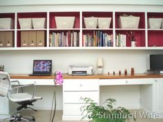 home office ideas! Red makes all the difference in how this looks