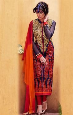 Picture of Attractive Mystical Blue Ready Made Salwar Kameez