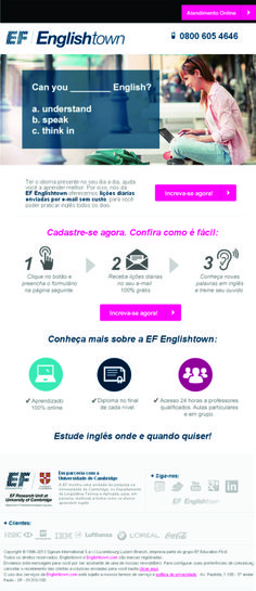 Email marketing Englishtown Curso de Inglês