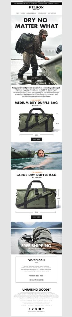 filson4 Email Design Inspiration, Email Newsletters, Large Bags