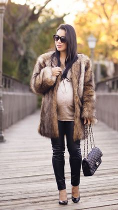 Fur Coat + Leather Pants - cute & little - Fashion, Couple Fall Maternity, Maternity Fashion, Chic Maternity, Maternity Styles, Army Parka, Pregnancy Fashion Winter, Pregnancy Style, Fur Coat Outfit, Ponte Pants