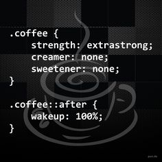 How to make coffee and wake up using CSS :)   #coffee #coffeetime #coffeeaddict #coffeelover #coffeeart #coffeeholic #coffeegeek #coffeegramm #web #webdevelopment #webdev #webdesign #html #html5 #css #css3 #js #javascript #php #programming #software #softwaredesign #coding #artofcoding #development #softwaredevelopment #engineering #augsburg #munich