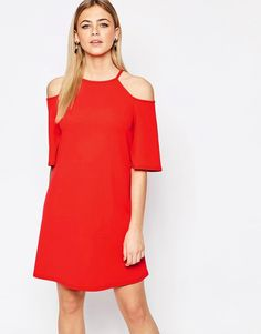 Image 1 of New Look Cold Shoulder Swing Dress