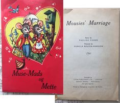 Rare Outer Cover Swedish/English Interior Vintage Children's Book Mousies' Marriage Vintage Children's Books, Vintage Postcards, Lazy Sunday, Vintage Labels, Vintage Advertisements, Childrens Books, Craft Supplies, Whimsical, Marriage