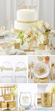 Add a unique sparkle of elegance to your wedding with a gold cake topper, glam chair signs, glitzy decor and wedding favors! ✨