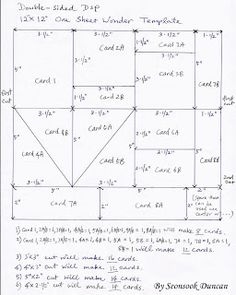 """Seongsook's Creations...: OSW (One Sheet Wonder) Template for 12""""x12"""" Double-sided DSP and sample cards"""