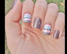 Image via Sweet flower nail art - pink & brown nails Image via Neutral nails with flowers and chevrons. Image via Polish Art Addiction: Basketball Nails they would be PERFECT Perfect Nails, Gorgeous Nails, Love Nails, Pretty Nails, Fun Nails, Blue Nail, Tribal Print Nails, Aztec Nails, Tribal Prints