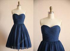 Vintage Navy Blue Polka Dots Tulle Wedding Dress Bridesmaid Dress Prom Dress Strapless Sweetheart Knee Short Dress