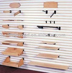 Slat Wall accessories - Craft or laundry room Retail Wall Displays, Merchandising Displays, Store Displays, Kayak Storage Rack, Wall Storage, Tack Shop, Retail Shelving, Boutique Decor, Wall Accessories