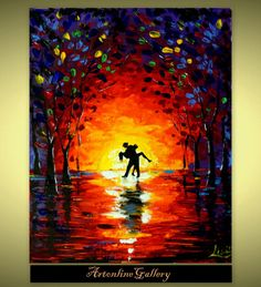 Original Abstract Painting  Dancing Sunset  by ArtonlineGallery, $98.00