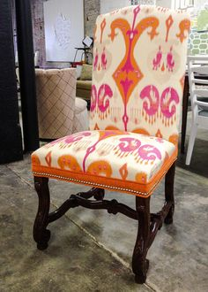 KRAVET Couture ikat with Romo velvet and hand applied nailheads