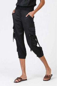 Uptown Satin Cargo Joggers – Melissa Jean Boutique Black Joggers, Capri Pants, Satin, Legs, Boutique, Model, How To Wear, Hardware, Polish