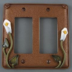 polymer clay light switch plate covers | Calla Lily Switch Plate Covers