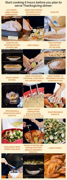 Plan your day-of cooking timeline in advance. Write it down and tape it somewhere easy to read / check off. | 27 Little Things You Can Do To Make Thanksgiving So Much Easier