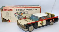 RARE Vintage Tin Litho Friction HIGHWAY PATROL CAR by Cragstan / Ichiko, Japan