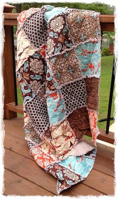 Rag Quilt - Queen Size - Aviary 2 Brown Aqua Saffron Orange Modern Bedding Handmade