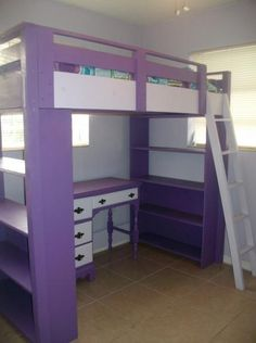 Purple Loft Bed with Bookcases | Do It Yourself Home Projects from Ana White