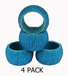 Nirvana-Class Dia Blue Beads Napkin Rings Set of 4 For Home Dinning Table Beaded Napkin Rings, Dinning Table, Decoration Table, Blue Beads, Napkins, Best Deals, Towels, Dinner Table, Dinner Napkins