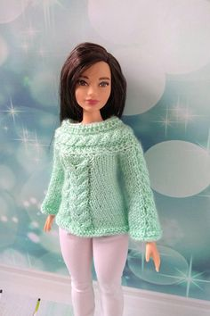 Curvy Barbie doll clothes hand-knitted green sweater and white pants for Barbie girl #barbie #barbieclothes #barbiedoll #curvybarbie