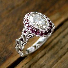 Oval Diamond Engagement Ring in 14K White by AdziasJewelryAtelier
