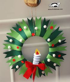 Get crafty for less with these dollar store Christmas Crafts. From DIY ornaments to mason jar crafts, there are plenty of craft ideas for kids and adults. Simple Christmas, Kids Christmas, Christmas Wreaths, Christmas Decorations, Christmas Ornaments, Advent Wreaths, Christmas Tables, Paper Ornaments, Preschool Christmas
