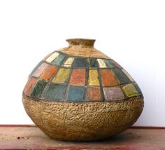 Ceramic Vase as Art - Handmade Pottery with Geometric Designs in a Rustic Style