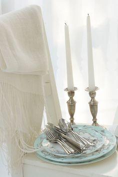 silver, white and aqua