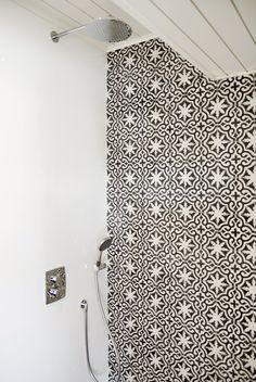 moroccan concrete tiles wall, scandinavian interior, bathroom