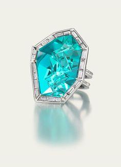 Paraiba tourmaline and diamond Ring by Tamsen Z