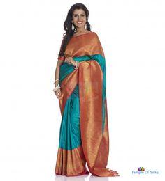 Traditional kancheepuram saree with contrast border