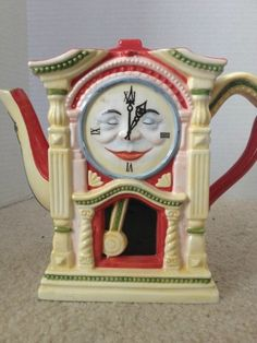 Whimsical Red and Cream Clock Home Decor Ceramic Teapot
