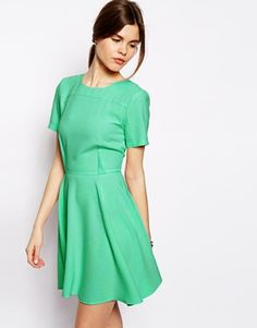 Buy ASOS Crepe Skater Dress With Seaming at ASOS. Get the latest trends with ASOS now. Drape Maxi Dress, Skater Dress, Lace Dress, Dress Up, Crepe Fabric, Pretty Outfits, Dress Collection, Fit And Flare, Fashion Beauty